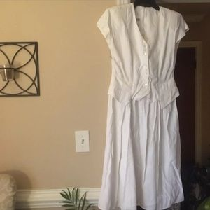 Vintage White Nina Piccalino Vested Dress